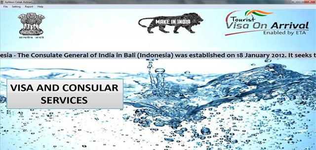 Pemasangan sistem antrian di kantor Konsulat India bali