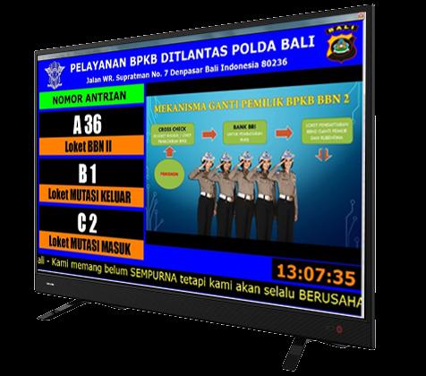 Display Sistem Nomor Antrian pada TV Monitor