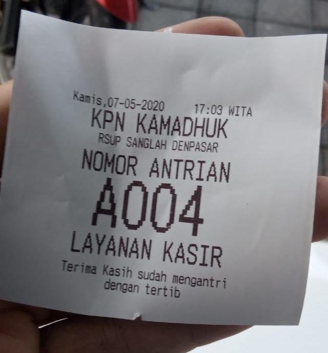 Hasil cetak tiket antrian KPN Kamadhuk Sanglah